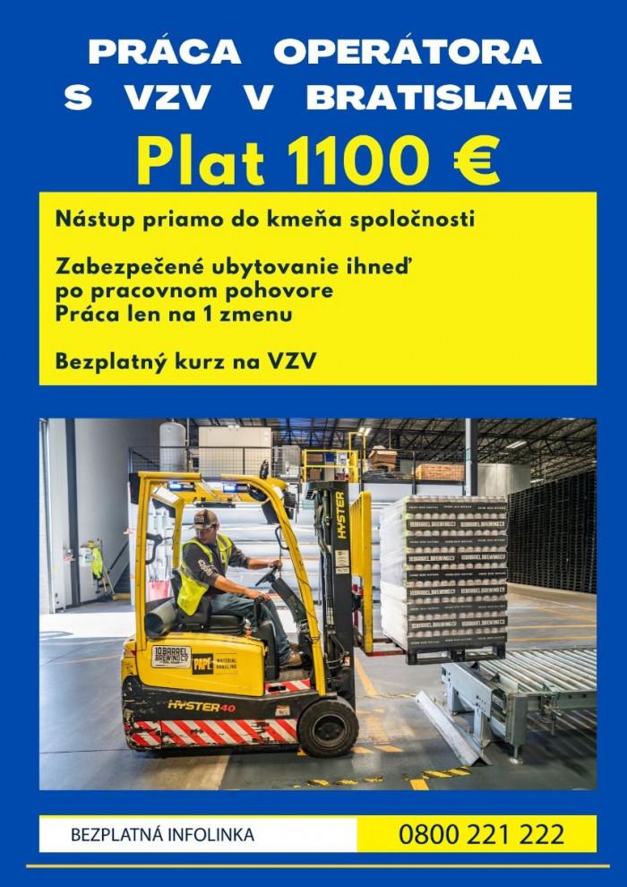 PRÁCA NA VZV S PLATOM 1100 EUR A UBYTOVANÍM.